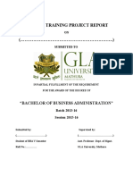 Format of Summer Training Project Report for BBA