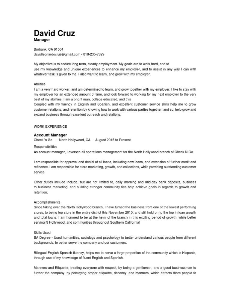 David-Cruz resume.pdf | Banks | Loans