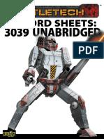 Battletech Record Sheets 3039 Unabridged