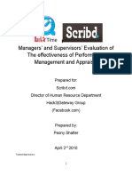 Managers' and Supervisors' Evaluation of The effectiveness of Performance Management and Appraisal