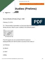 General Studies (Prelims) Paper- 1988