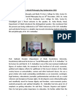 Report on World Philosophy Day Celeberation 2015