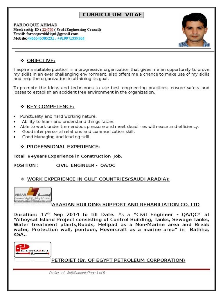 Nice Qa Qc Civil Engineer Cv Elaboration - Entry Level Resume ...
