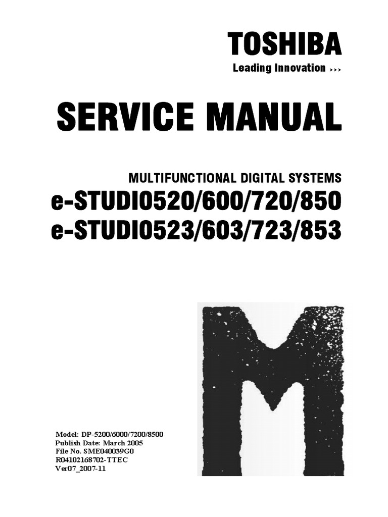 toshiba e studio 520 600 720 850 service manual service handbook parts list catalog