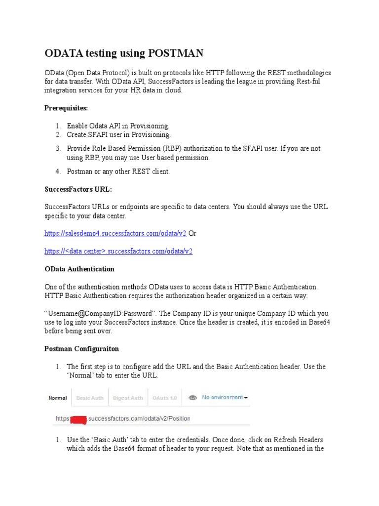 ODATA testing using POSTMAN: Prerequisites