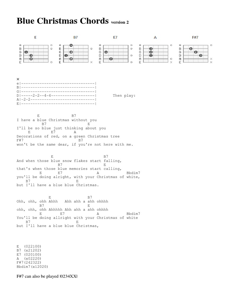 Blue Christmas Chords