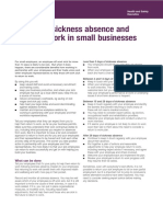 Indg399 - Managing Sickness Absence and Return to Work in Small Businesses