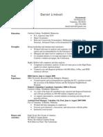 Daniel Lindvall Resume 2010