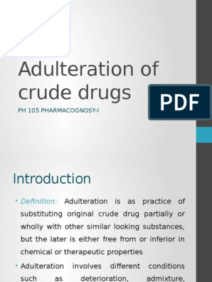 Adulteration of Crude Drug | Mold | Humidity