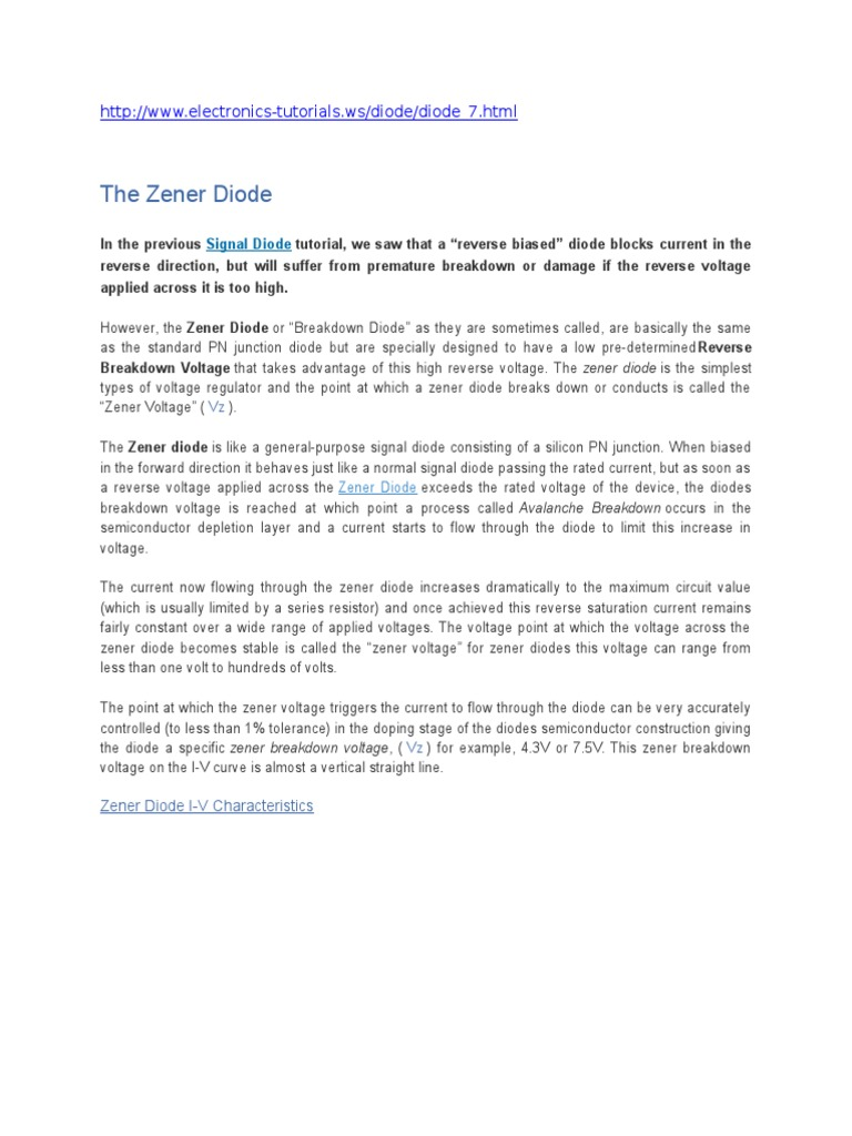 Zener Diode Pn Junction And A In Simple Regulator Circuit