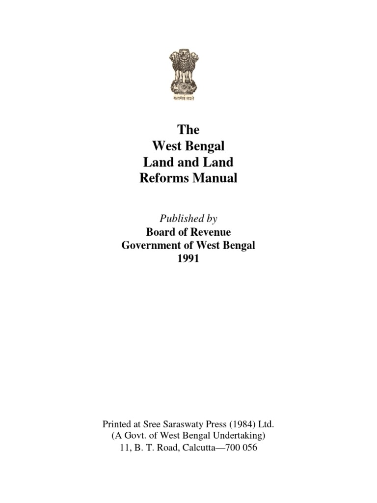 West Bengal Land and Land Reforms Manual | Surveying | Inspector