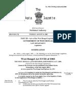 West Bengal Land Reforms (Amendment) Act 2003.