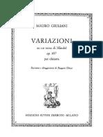 Giuliani - Variazioni Su Un Tema Di Haendel (Op 107) (Edizioni Suvini Zerbon