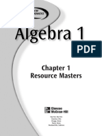 Glenco Algebra 1 Chapter 1