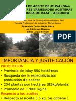 EXTRACCION DE ACEITE DE OLIVA (Olea europea) DE TRES VARIEDADES ACEITERAS EN EL PROVINCIA DE ISLAY - AREQUIPA