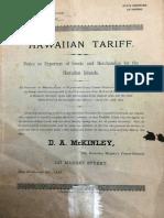 1885 Hawaiian Tariff