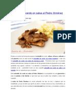 Solomillo de Cerdo en Salsa Al Pedro Ximénez
