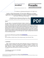 Analysis of the Determinants of Universities Efficiency in Turkey Application of the Data Envelopment Analysis and Panel Tobit Model