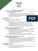 My Resume as of 2015
