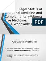 Legal Status of Traditional Medicine and Alternative Medicine