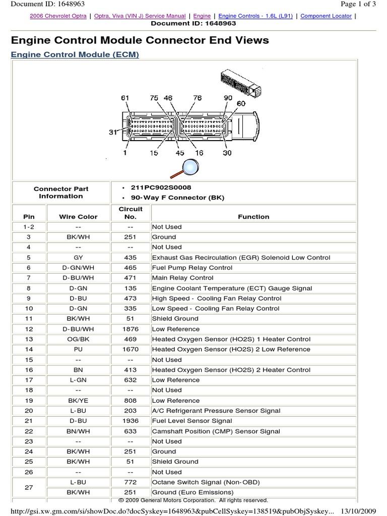 Optra 2006 ECM Connector   Propulsion   Transportation Engineering   Chevrolet Optra 2005 Wiring Diagram      Scribd