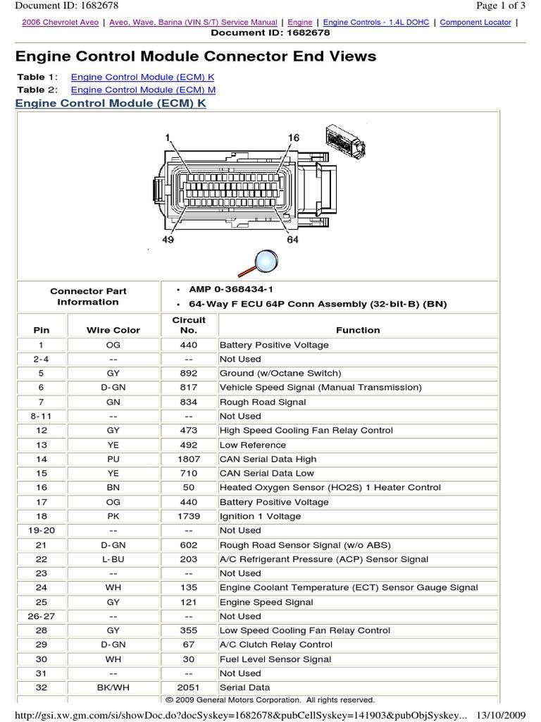 aveo 2006 ecm connector vehicle technology systems engineeringGm Ecm Wiring Diagrams 2006 #17