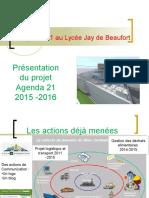 Présentation du projet agenda 21 mené en première ESA au lycée Jay de Beaufort de Périgueux