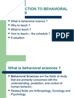 Introduction to Behavioural Science