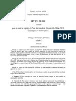 LEY Plan Nacional de Desarrollo 2014 - 2018