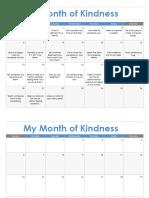 a month of kindness calendar