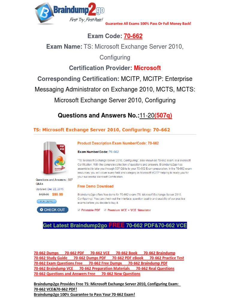 [Braindump2go] Latest 70-662 Exam Questions Free Download 11-20 | Microsoft  Exchange Server | Email