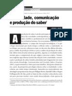 Criatividade, Comunicação e Produção Do Saber1
