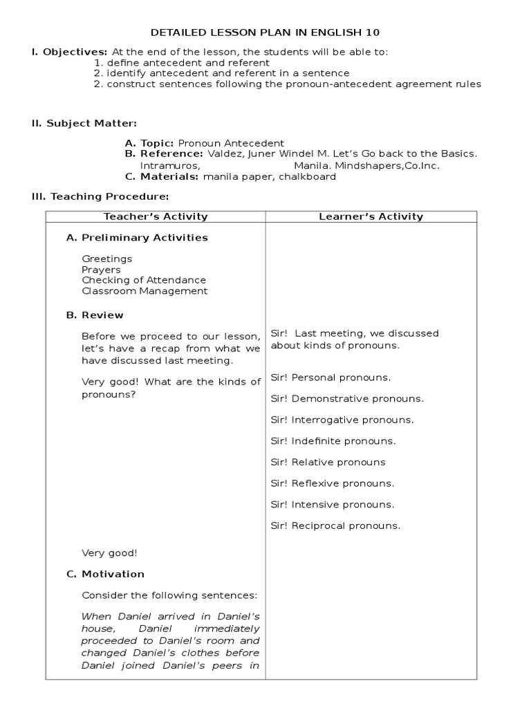 Detailed Lesson Plan in PronounAntecedent Agreement – Pronoun Antecedent Agreement Worksheet with Answers