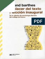 Roland Barthes - El Placer Del Texto y Lección Inaugural. Alianza Editorial