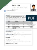 CV of MD. Mahbub -Ul- Hasan