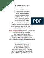 De Vuelta a Tu Corazón - Letra