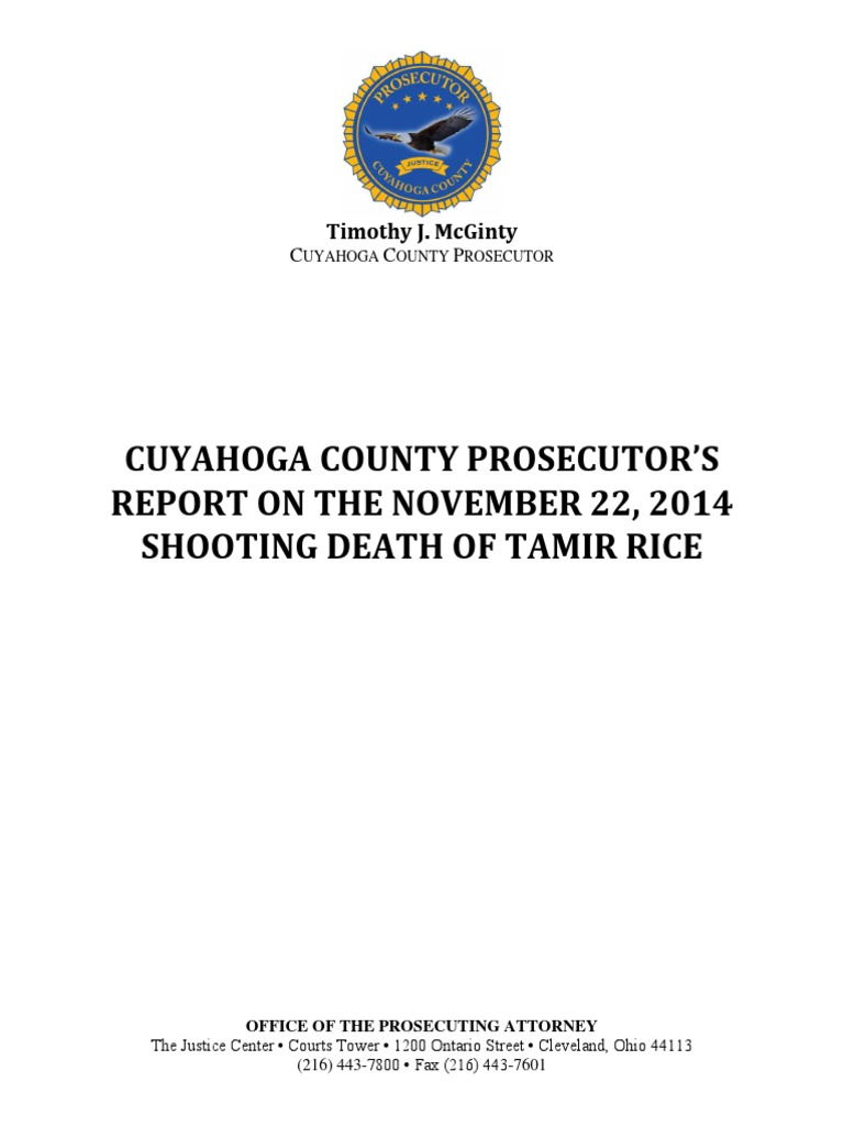 Tamar Rice case report | Shooting Of Tamir Rice | Cleveland Division
