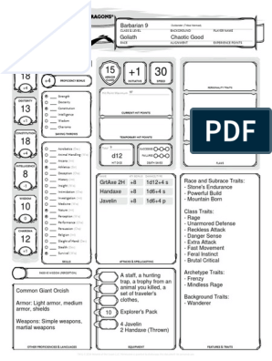 barbarian character sheet dnd e goliath barbarian  | gaming | role playing games