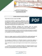 Compte Rendu Du Conseil Des Ministres - Lundi 28 Décembre 2015