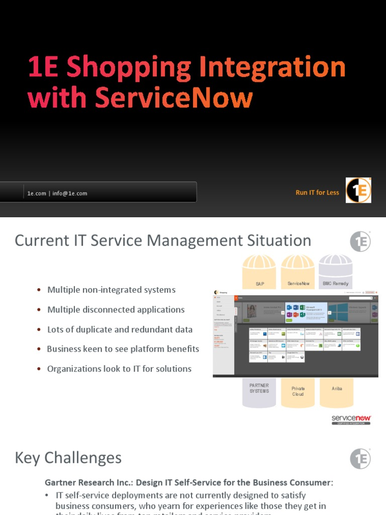 1E Shopping Integration with ServiceNow | Service Oriented
