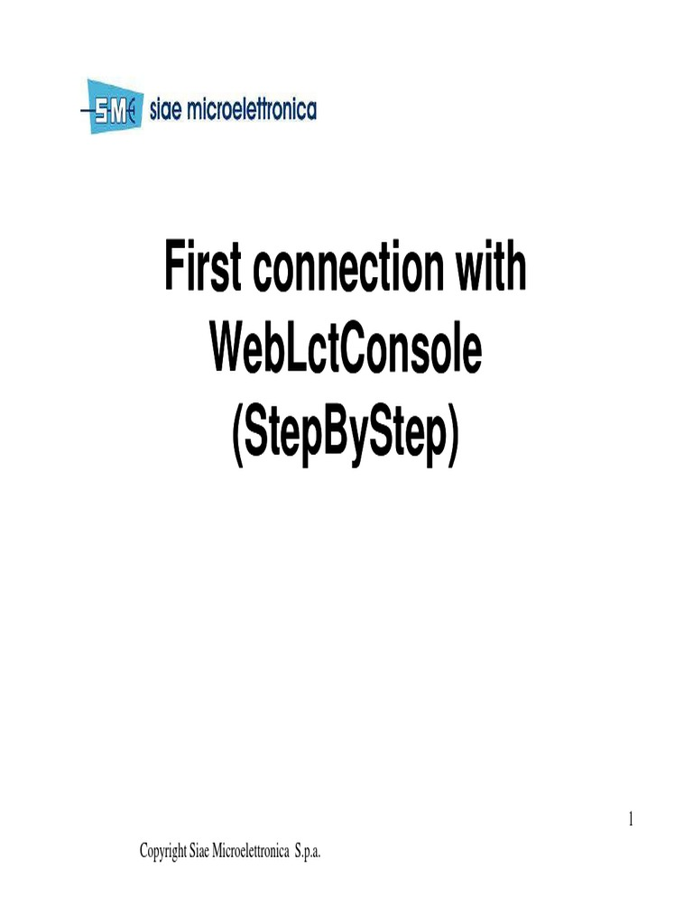 First Connection With WebLctConsole (StepByStep