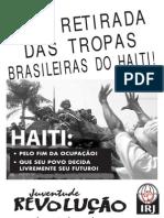 Cartaz campanha pela Retirada das Brasileiras Tropas Haiti!
