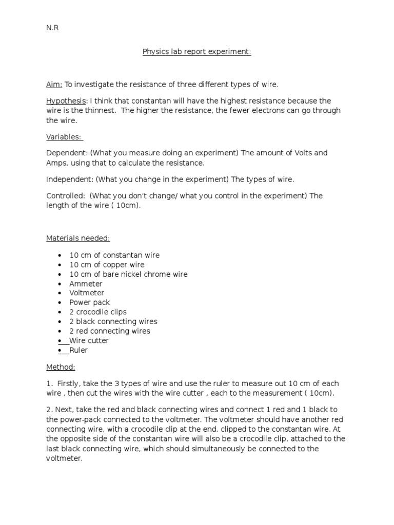 Physics Lab Report Experiment Copper | Experiment | Nickel