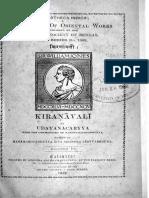 Kiranavali of Udayana, fasc. 3