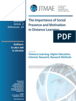 The Importance of Social  Presence and Motivation   in Distance Learning