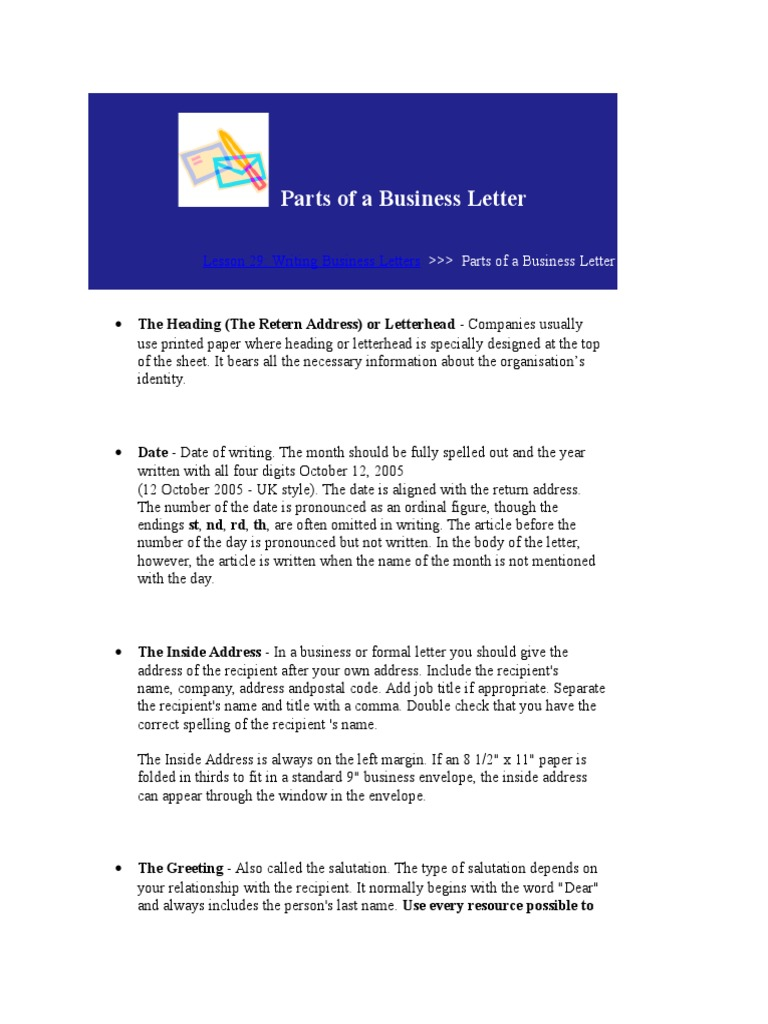 Parts Of A Business Letter Paragraph Written Communication