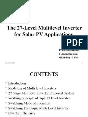 The 27-Level Multilevel Inverter for Solar PV Applications