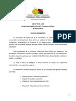 Loi n° 2015-010 portant statut particulier de la commune urbaine de Sainte Marie