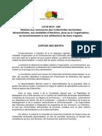 Loi n° 2014-020 relative aux ressources des CTD, aux modalités d'élections, ainsi qu'à l'organisation, au fonctionnement et aux attributions de leurs organes