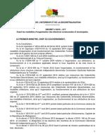 Décret n° 2015-617 fixant les modalités d'organisation des élections communales et municipales